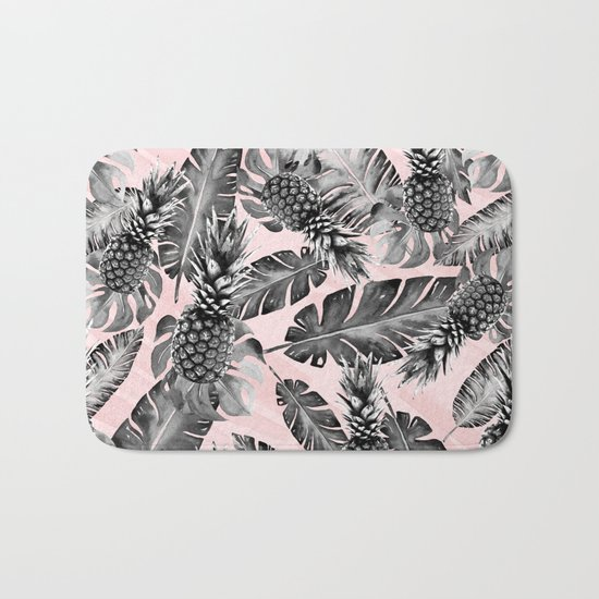 Leaves and pineapples pattern Bath Mat