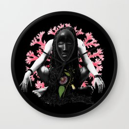 Passion Flower Tribal Collage Wall Clock