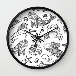 ocean animals and seaweed, seafood, fish, shrimp, shark, turtle, whale, one line Wall Clock