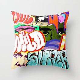 graffity style Throw Pillow