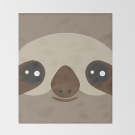 funny and cute smiling Three-toed sloth on brown background Throw Blanket