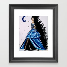 MIDNIGHT IN MANHATTAN FASHION ILLUSTRATION BY JAMES THOMAS RYAN Framed Art Print