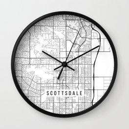 Scottsdale Map, USA - Black and White Wall Clock