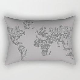 world map typography grey 1 Rectangular Pillow