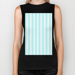 Narrow Vertical Stripes - White and Celeste Cyan Biker Tank