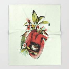 Heart Of Birds Throw Blanket