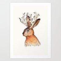 jackalope Art Prints featuring Jackalope by Sandra Dieckmann