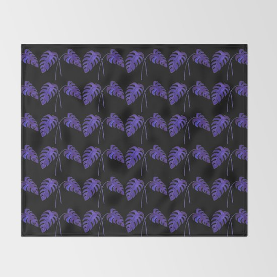Indigo Monstera Leaf Watercolor on Black Throw Blanket