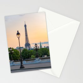 Eiffel tower and lamppost with orange sky Stationery Cards