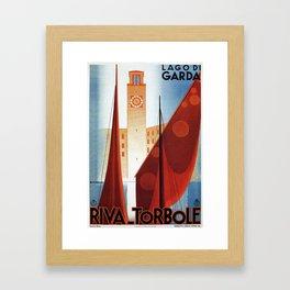 Art deco vintage Italian travel Riva Torbole Lake Garda Framed Art Print