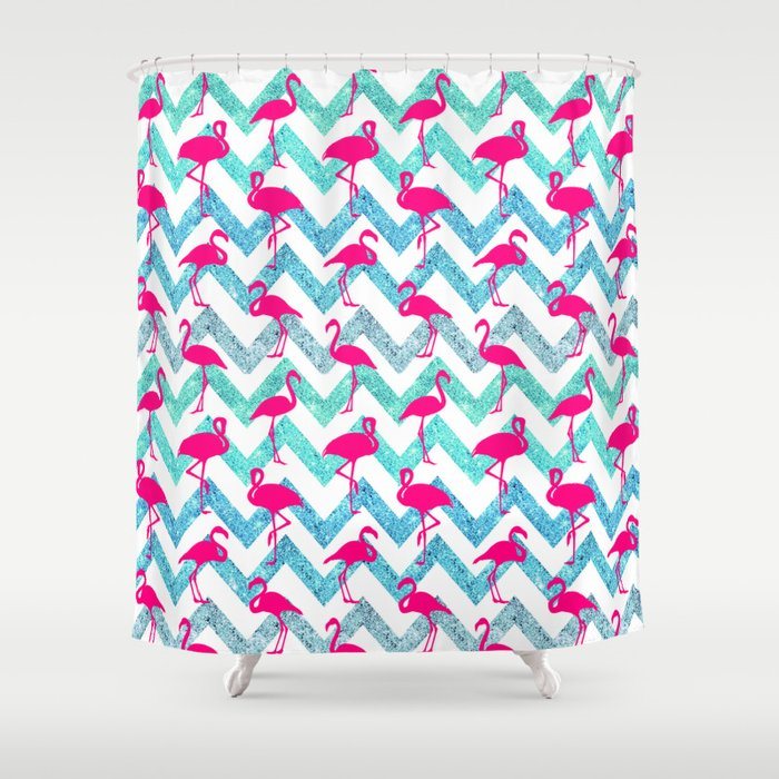 Go Flamingo Tropical Pink Neon Flamingos Teal Glitter Chevron