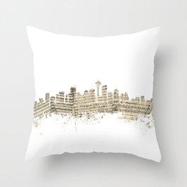 Seattle Washington Skyline Sheet Music Cityscape Throw Pillow