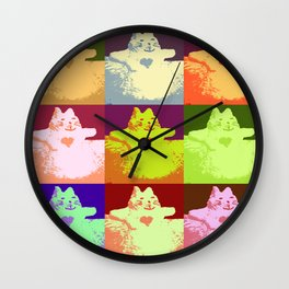 Pop Art Snow Kitty Wall Clock