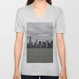 Fifty Shades of Grey NYC Manhattan Skyline Unisex V-Neck