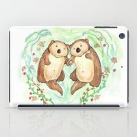 otters iPad Cases featuring Otters Holding Hands by Georgia Dunn