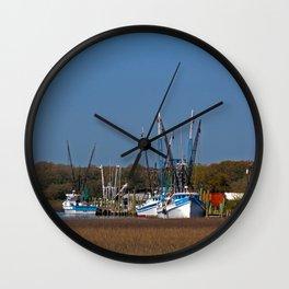 South Carolina Shrimp Boats Wall Clock