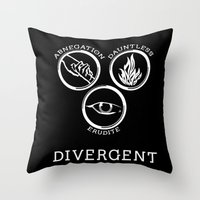 divergent Throw Pillows featuring Divergent (White) by Lunil