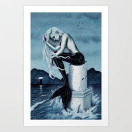 Stormy Seas Gothic Mermaid Art Print