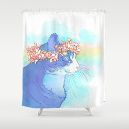 Cat with Flower Crown Shower Curtain