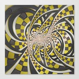 Liquid Taxi Cab, a Yellow Checkered Retro Fractal Canvas Print