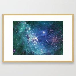 Turquoise Glitter Galaxy Framed Art Print