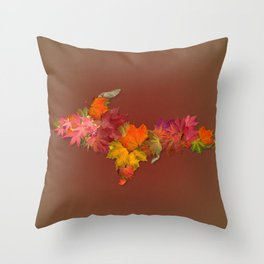 Upper Peninsula Of Michigan Maple Leaves Outline Throw Pillow