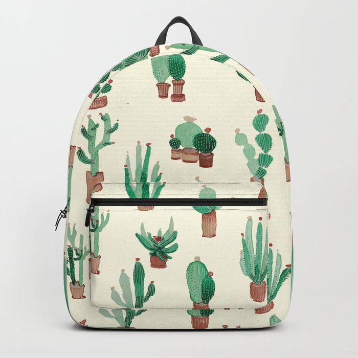 litle watercolor pocket cactus Backpack