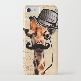 Giraffe Mustache Monocle Tophat Dandy iPhone Case