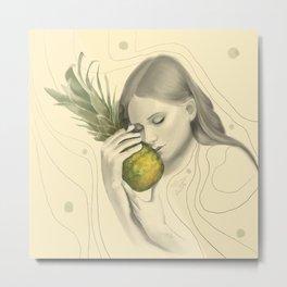 Baby & Pineapple Metal Print