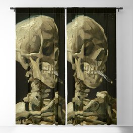 Skull of a Skeleton with Burning Cigarette Painting by Vincent van Gogh Blackout Curtain