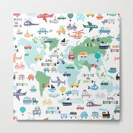 Travel The World Trains Planes Cars Trucks Map Metal Print