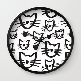 Cat's Whiskers Black And White Illustration Pattern Wall Clock