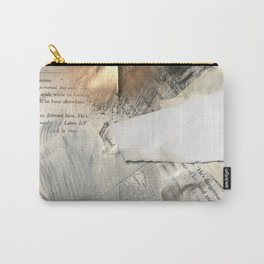 Too Soon | Collage Series 1 | mixed-media piece in gold, black and white + book pages Carry-All Pouch