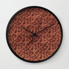 Vintage Floral Lace Leaf Coffee Brown Wall Clock