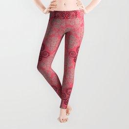 red&grey Baroque Pattern on gentle raspberry Leggings