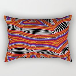 Authentic Aboriginal Art - Neurum Creek Bush Tracks Rectangular Pillow