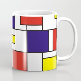 Homage to Mondrian in red blue and yellow Coffee Mug