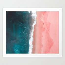 Turquoise Sea Pastel Beach Art Print