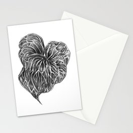Midori Anthurium Pencil Drawing Black White Heart Stationery Cards