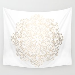 Mandala White Gold Shimmer by Nature Magick Wall Tapestry