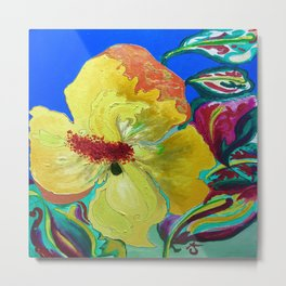 Birthday Acrylic Yellow Orange Hibiscus Flower Painting with Red and Green Leaves Metal Print