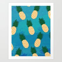 pineapples Art Prints featuring Pineapples  by Ashley Hillman