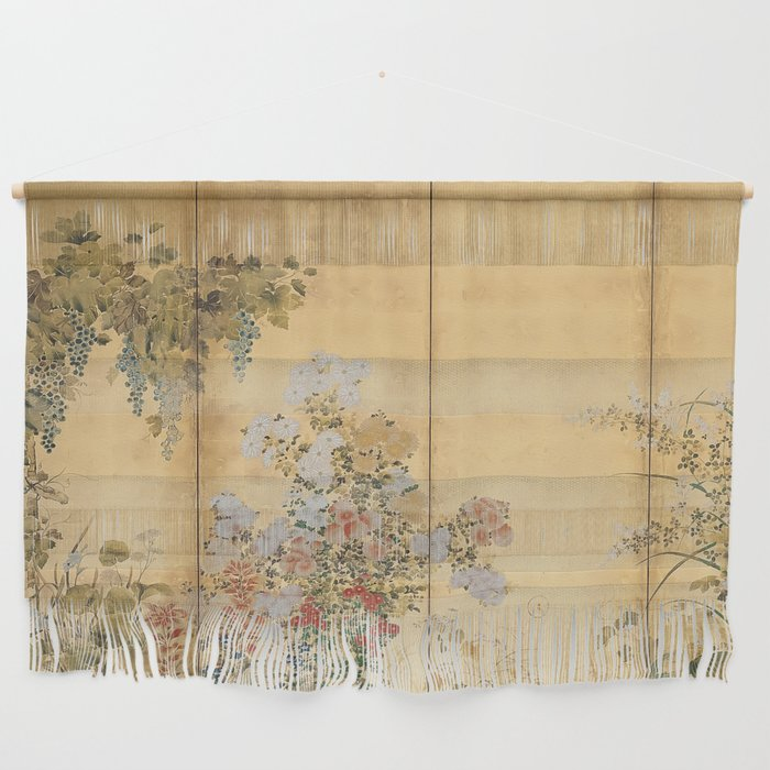 Japanese Edo Period Six-Panel Gold Leaf Screen - Spring and Autumn Flowers Wall Hanging