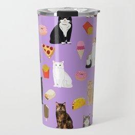 Cat breeds junk food pizza french fries food with cats gifts ice cream donuts Travel Mug
