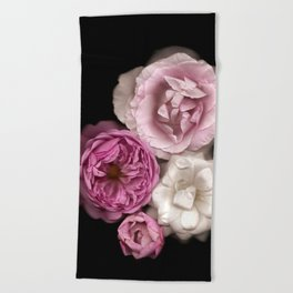 Purple, Pink, and White Roses Beach Towel