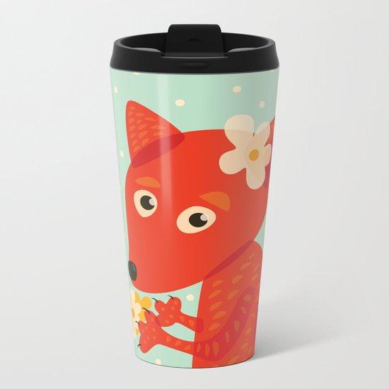 Cute Fox And Flowers Metal Travel Mug