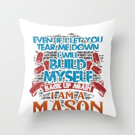Mason Masonry Build Myself Up Stonemason Bricklayer Construction Throw Pillow