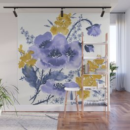 Blue and Yellow Floral #2 Wall Mural