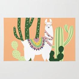 Cute Llama with Cactus Rug