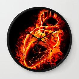 Heart on fire Wall Clock
